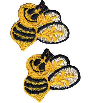 """Wrights Iron-On Appliques-Bumble Bees 1""""X1-1/2"""" 2/Pkg"""