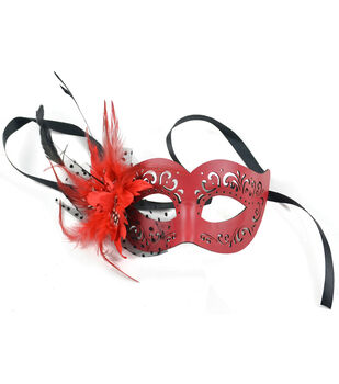 Maker's Halloween Leather Mask With Feathers-Red