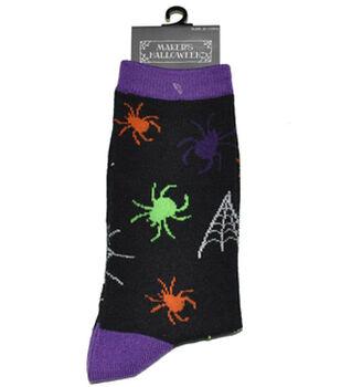 Maker's Halloween Socks-Spider And Webs Crew