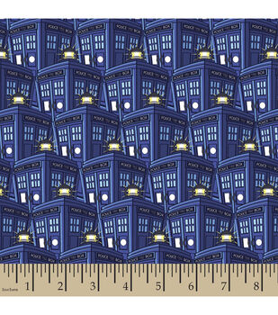Doctor Who Packed Tardis Poly Spandex Fabric