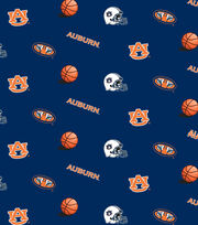 Auburn NCAA Blue All-over Cotton Fabric, , hi-res