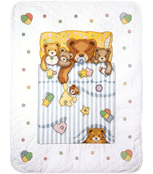 Tobin Under The Covers Baby Quilt Stamped Cross Stitch Kit