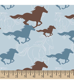Snuggle Flannel Fabric-Horses Running Sketch Blue
