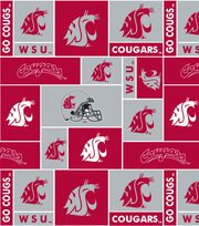 Washington State University NCAA Block Fleece Fabric, , hi-res