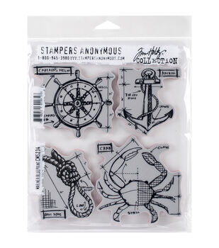 Stampers Anonymous Tim Holtz Mariner Blueprint Cling Rubber Stamp Set