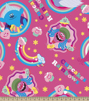 Dreamworks Trolls Cupcakes & Rainbows Badges Fleece Fabric, , hi-res