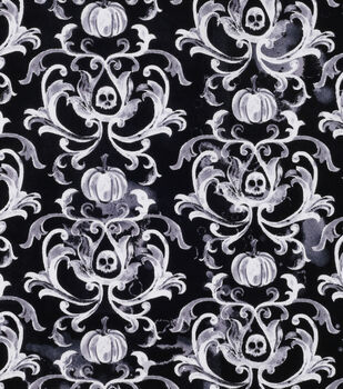 Halloween Cotton Fabric-Damask Skulls And Pumpkins