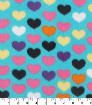 Blizzard Fleece Fabric-Multicolor Heart