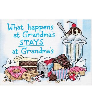 Dimensions What Happens At Grandma's Mini Stamped Cross Stitch Kit