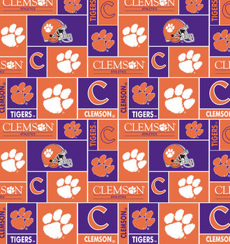 Clemson University NCAA  Fleece Fabric