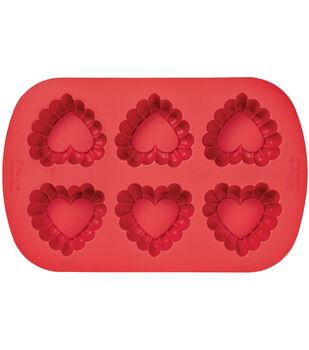 Wilton® Silicone Mold-6 Cavity Ruffled Heart