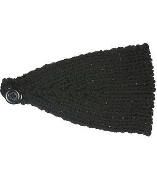 Laliberi Winter Knit Crystal Headwrap In Black