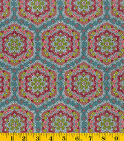 Made In America Cotton Fabric-Floral Medallion Green, , hi-res