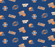 University of Illinois NCAA Blue All-over Cotton Fabric, , hi-res