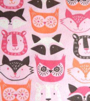 Snuggle Flannel Fabric-Pink Animal Faces