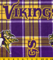 Minnesota Vikings NFL Plaid Fleece Fabric by Fabric Traditions, , hi-res
