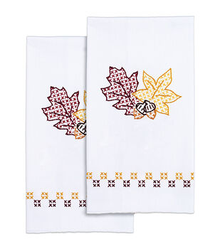 Jack Dempsey Stamped Decorative Hand Towel Leaves White