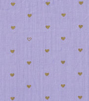 Keepsake Calico™ Cotton Fabric-Gold Metallic Hearts Purple, , hi-res