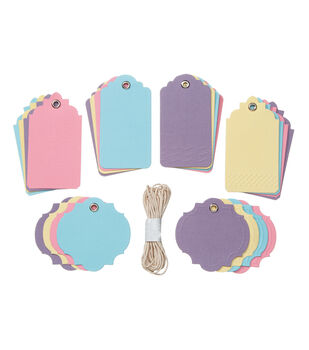 Core'dinations Tags:  Pastels Assortment with String; 24 pack