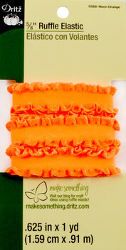 """Dritz 5/8""""  Ruffle Elastic Neon Orange 1 Yard"""