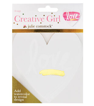 Creative Girl Watercolor Tags Hearts Set of 6 Designs