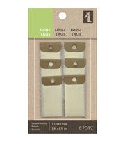 """Inkadinkado Natural Fabric Tags 1.125""""X2.25"""" 6/Pkg-Small, , hi-res"""