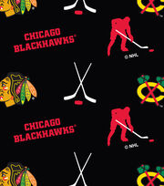 Chicago Blackhawks NHL Tossed Print Fleece Fabric, , hi-res