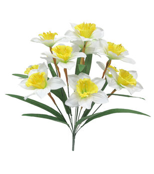 Blooming Spring 18'' Daffodil Floral Bush-Yellow & White