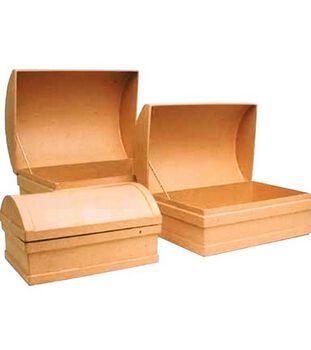 "Paper Mache Treasure Chests-3PK/8-3/4"",10-1/4""&12"""