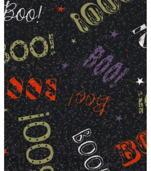 Holiday Inspirations Fabric-Boo On Black Glitter