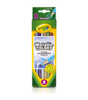 Crayola Metallic Colored Pencils-8/Pkg Long, , hi-res