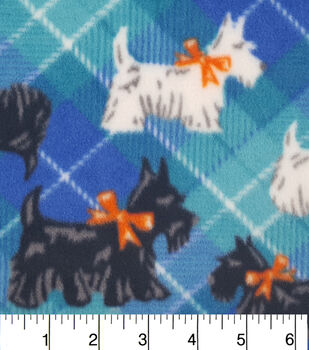Anti Pill Fleece Fabric-Scotties On Multi Blue Plaid
