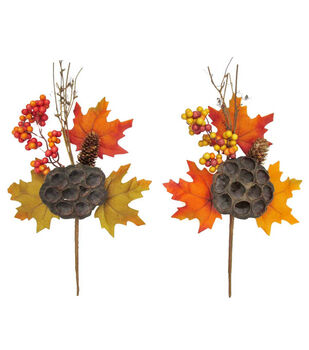 "Blooming Autumn 13"" Berry Maple Leaves Pick Assorted"