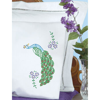 Jack Dempsey Stamped Pillowcases with Perle Edge Peacock