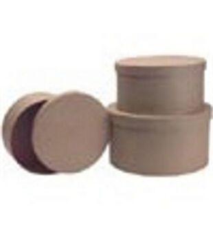 Paper Mache Box Set-3PK/Round Boxes