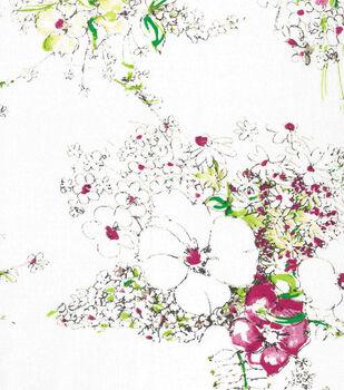 Keepsake Calico™ Cotton Fabric-Sketch Floral On White