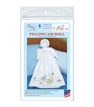 Jack Dempsey Fluttering Butterflies Stamped White Pillowcase Doll Kit