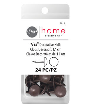"Dritz Home 0.44"" Decorative Nails Smooth Head 24pcs Brown"