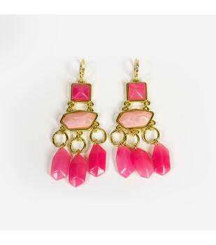 Blue Moon Jewelry Goldand Pink Chandelier Earrings
