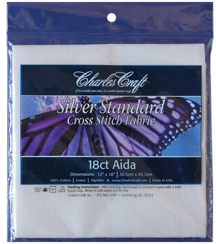 Charles Craft Silver Label Aida 18 Count 12''X18''-White