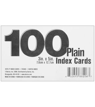 "Index Cards 3""X5"" 100/Pk-Blank White"