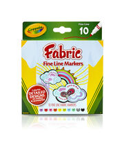 Crayola Fine Line Fabric Markers 10/Pkg, , hi-res