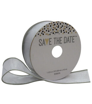 Save the Date 1.5'' X 15' Ribbon-Sheer Glitter Silver