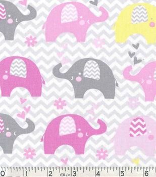 Nursery Cotton Fabric-Dream Big Elephant In Line