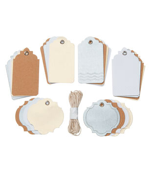 Core'dinations Tags:  Neutrals Assortment with String; 24 pack