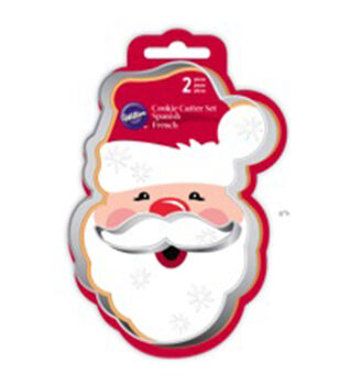 Metal Cookie Cutter Set 2/Pkg-Santa Face