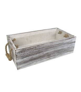 Fab Lab™ Wood Storage Box with Rope Handles-White