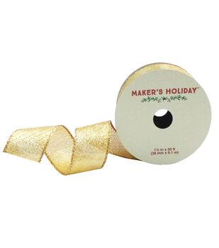 Maker's Holiday 1.5'' X 30' Ribbon-Golden Twill