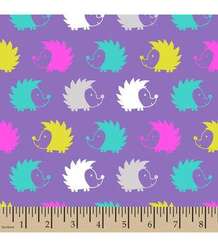 Snuggle Flannel Fabric-Hedgehogs Purple