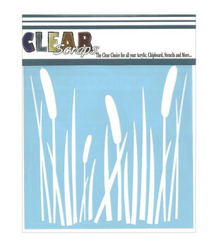 "Clear Scraps Stencils 6""X6""-Cattails"